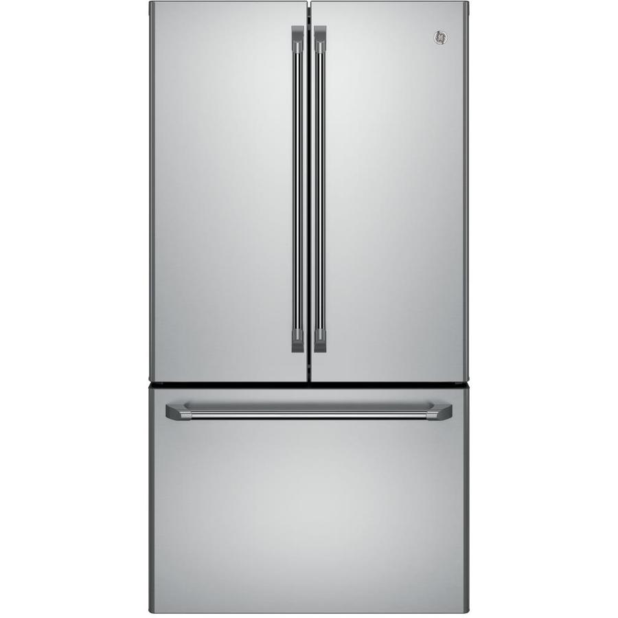 GE Cafe 23.1-cu ft Counter-Depth French Door Refrigerator with Ice Maker (Stainless steel) ENERGY STAR
