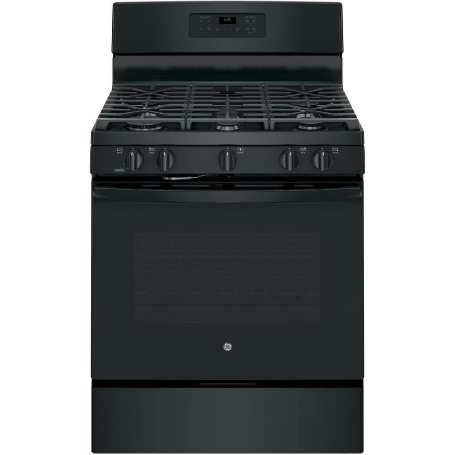 GE 5-Burner Freestanding 5-cu ft Self-Cleaning Gas Range (Black) (Common: 30-in; Actual: 30-in)