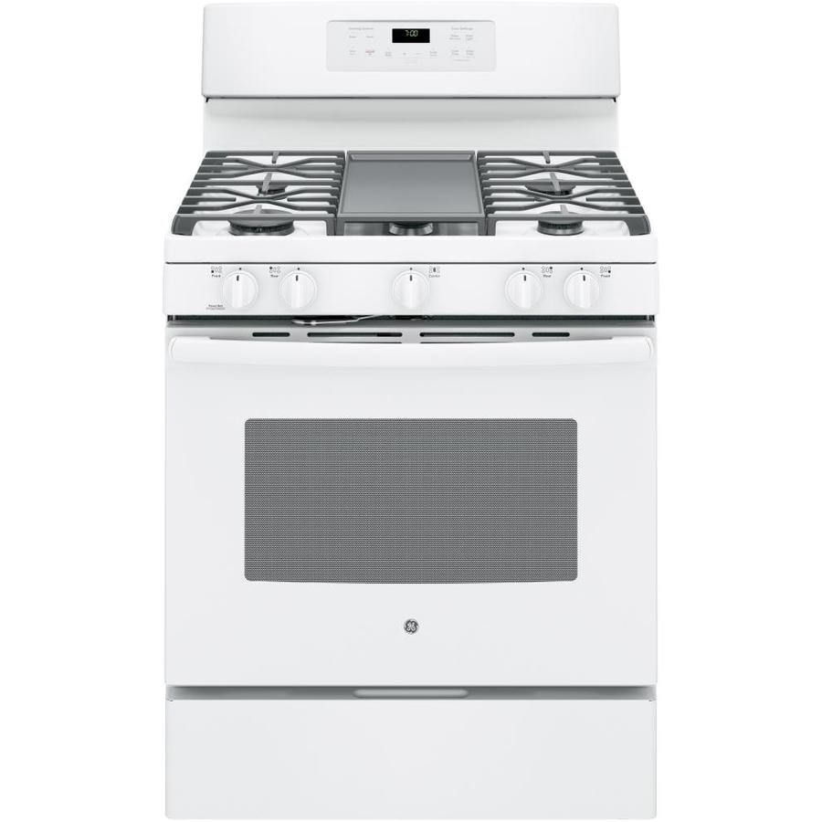 GE 5-Burner Freestanding 5-cu ft Self-Cleaning Convection Gas Range (White) (Common: 30-in; Actual: 30-in)