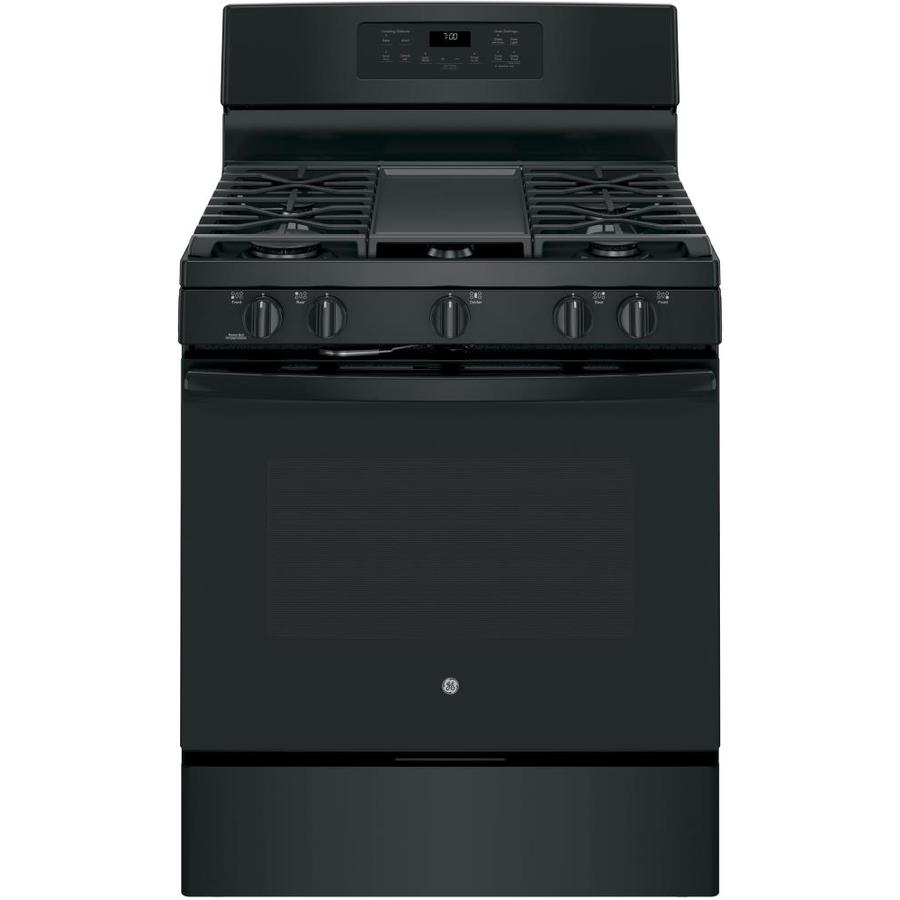 GE 5-Burner Freestanding 5-cu ft Self-Cleaning with Steam Convection Gas Range (Black) (Common: 30-in; Actual: 30-in)