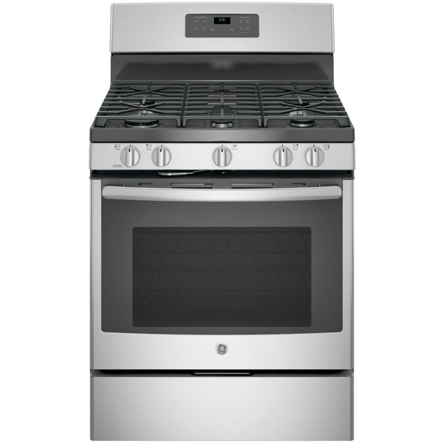 GE 5-Burner Freestanding 5-cu ft Self-Cleaning Gas Range (Stainless Steel) (Common: 30-in; Actual: 30-in)