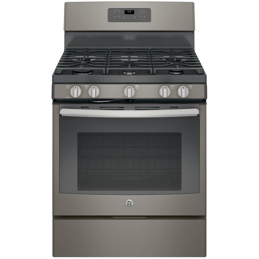 GE 5-Burner Freestanding 5-cu ft Self-Cleaning Gas Range (Slate) (Common: 30-in; Actual: 30-in)
