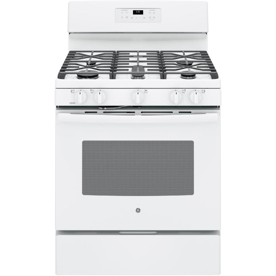 GE 5-Burner Freestanding 5-cu ft Self-Cleaning Gas Range (White) (Common: 30-in; Actual: 30-in)