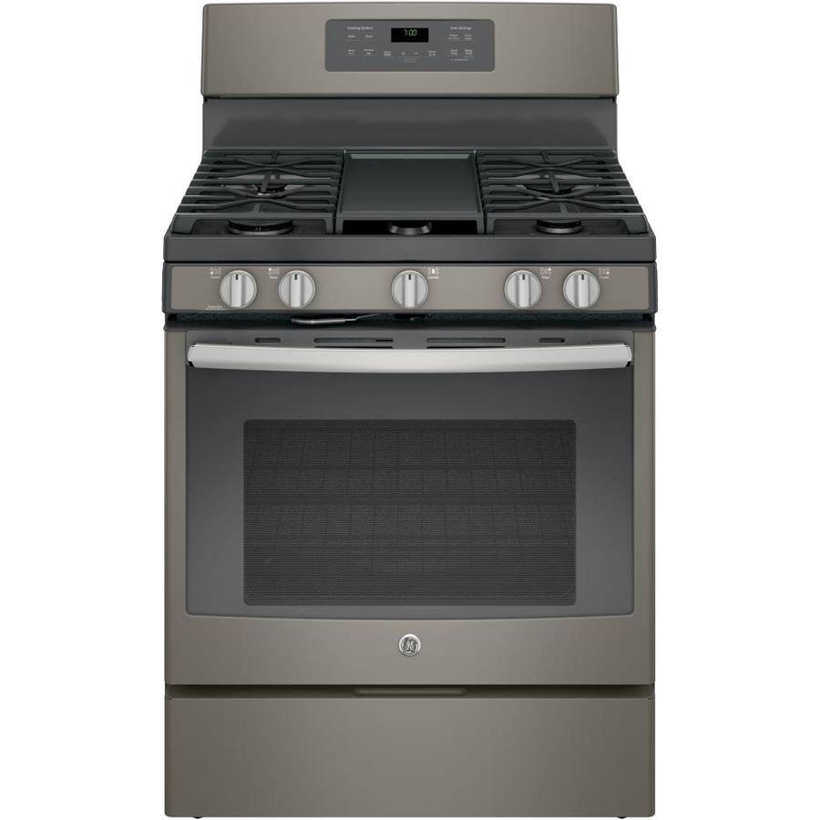 GE 5-Burner Freestanding 5-cu ft Self-Cleaning with Steam Convection Gas Range (Slate) (Common: 30-in; Actual: 30-in)