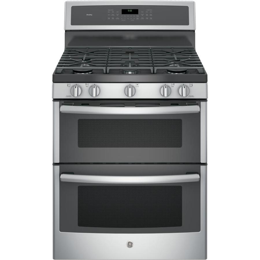 GE Profile Series 30-in 5-Burner 4.3-cu ft/2.5-cu ft Self-Cleaning with Steam Double Oven Convection Gas Range (Stainless Steel)