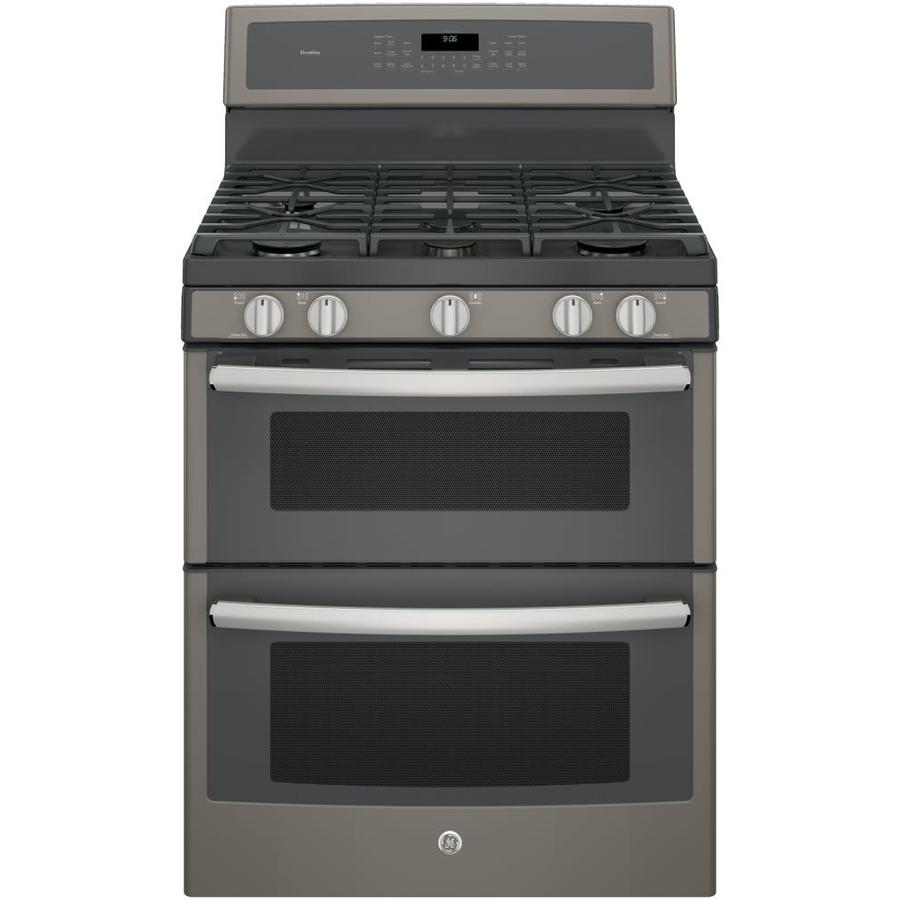 GE Profile Series 30-in 5-Burner 4.3-cu ft/2.5-cu ft Self-Cleaning with Steam Double Oven Convection Gas Range (Slate)