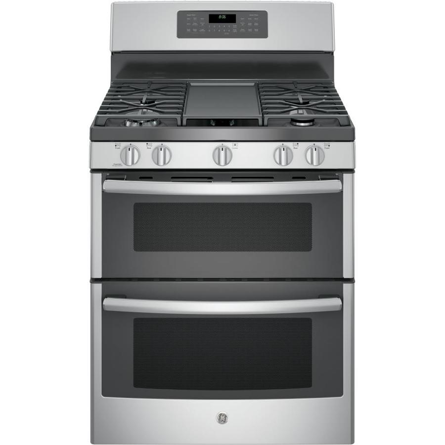 GE 30-in 5-Burner 4.3-cu ft/2.5-cu ft Self-Cleaning Double Oven Convection Gas Range (Stainless Steel)