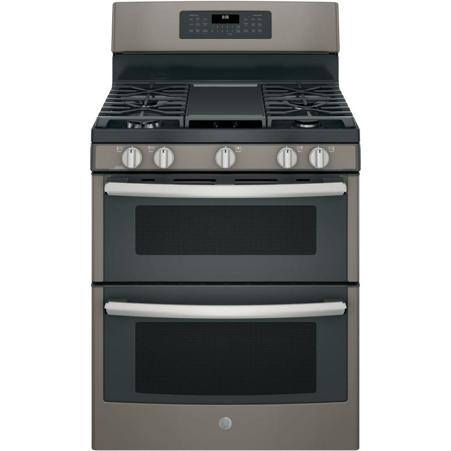 GE 30-in 5-Burner/2.5-cu ft Self-Cleaning Double Oven Convection Gas Range (Slate)