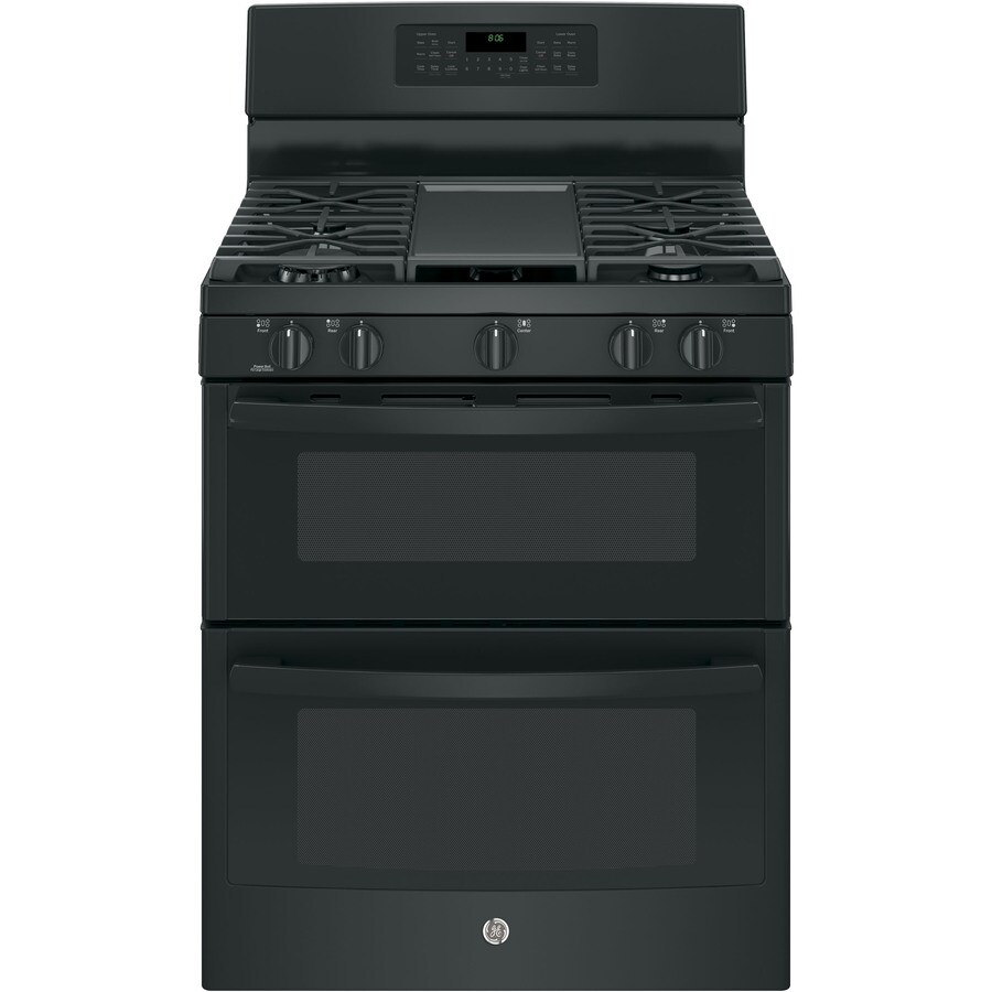 GE 30-in 5-Burner/2.5-cu ft Self-Cleaning Double Oven Convection Gas Range (Black)