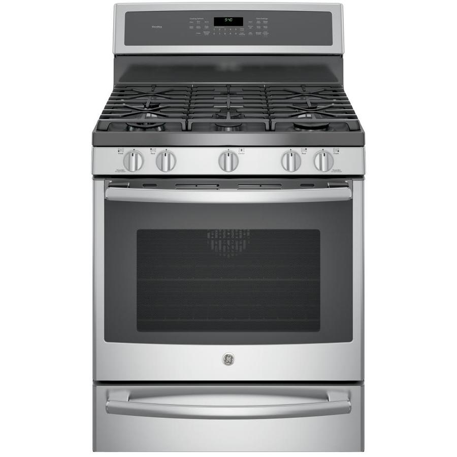 GE Profile Series Profile 5-Burner Freestanding 5.6-cu ft Self-Cleaning Convection Gas Range (Stainless Steel) (Common: 30-in; Actual: 30-in)