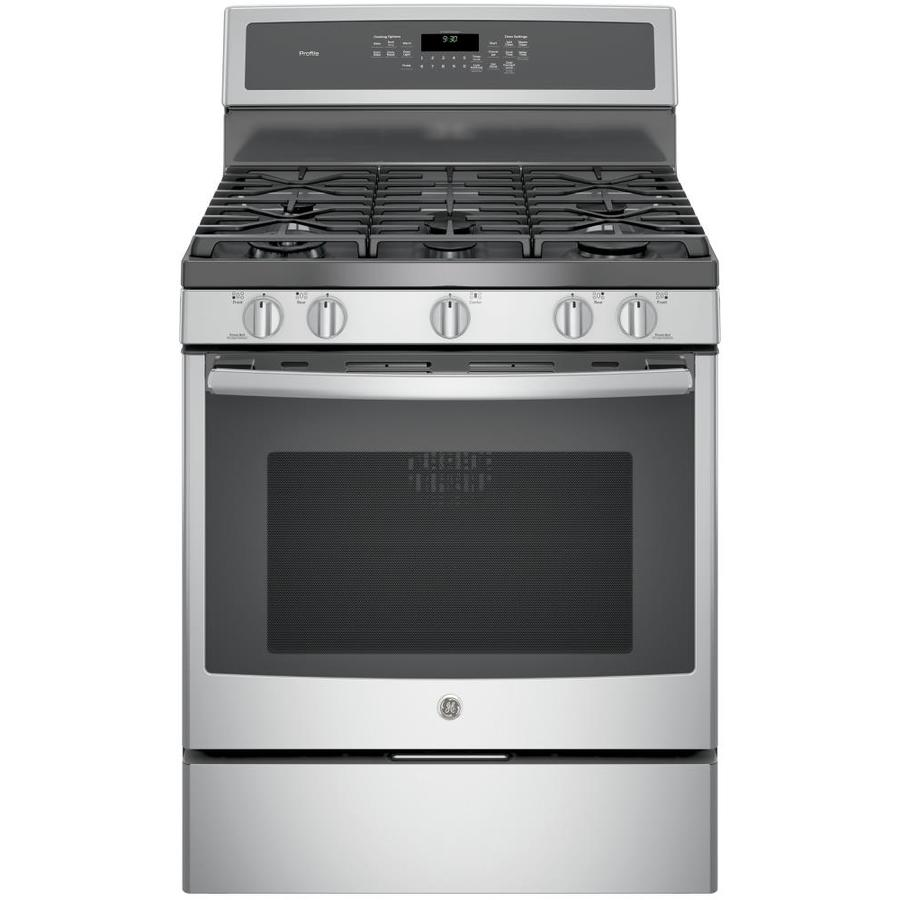 GE Profile Series 5-Burner Freestanding 5.6-cu ft Self-Cleaning with Steam Convection Gas Range (Stainless Steel) (Common: 30-in; Actual: 30-in)
