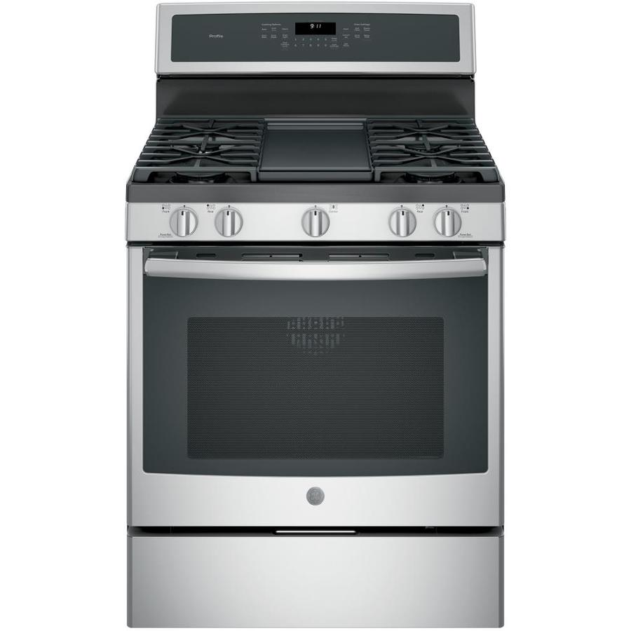 GE Profile 5-Burner Freestanding 5.6-cu ft Convection Gas Range (Stainless Steel) (Common: 30-in; Actual: 30-in)