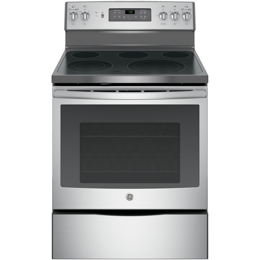 GE Smooth Surface Freestanding 5-Element 5.3-cu ft Self-Cleaning Convection Electric Range (Stainless Steel) (Common: 30-in; Actual: 29.875-in)