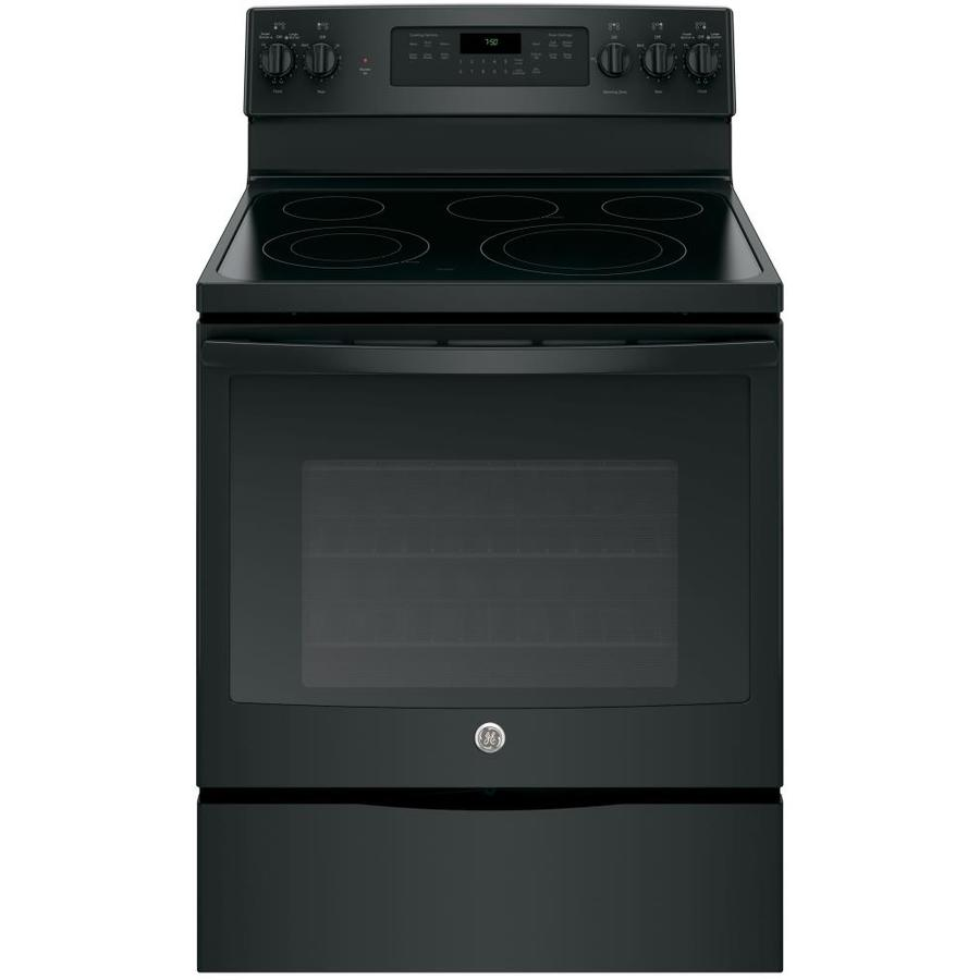 GE Smooth Surface Freestanding 5-Element 5.3-cu ft Self-Cleaning Convection Electric Range (Black) (Common: 30-in; Actual: 29.875-in)