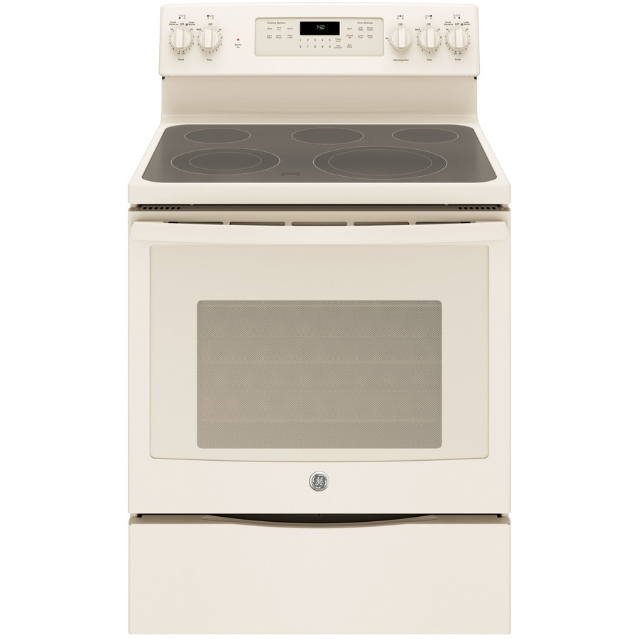 GE Smooth Surface Freestanding 5-Element 5.3-cu ft Self-Cleaning Convection Electric Range (Bisque) (Common: 30-in; Actual: 29.875-in)