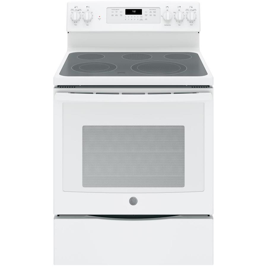 GE Smooth Surface Freestanding 5-Element 5.3-cu ft Self-Cleaning Convection Electric Range (White) (Common: 30-in; Actual: 29.875-in)