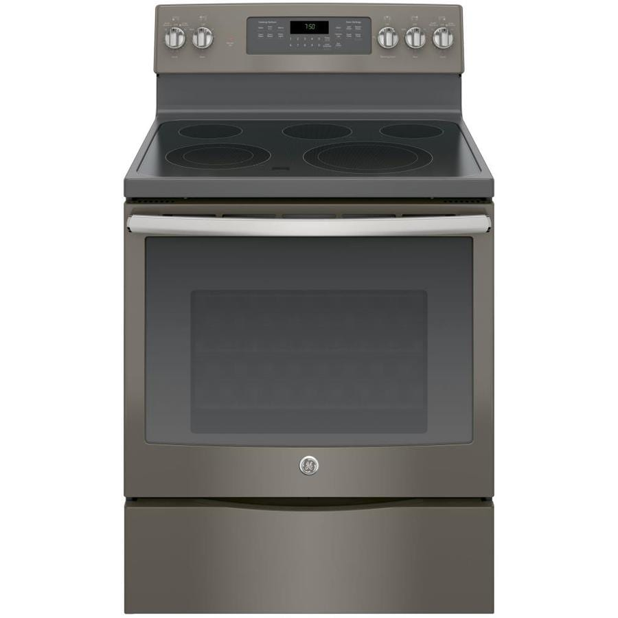 GE Smooth Surface Freestanding 5-Element 5.3-cu ft Self-Cleaning Convection Electric Range (Fingerprint-Resistant Slate) (Common: 30-in; Actual: 29.875-in)
