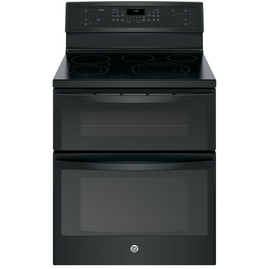 GE Profile 30-in Smooth Surface 5-Element 4.4-cu ft/2.2-cu ft Double Oven Convection Electric Range (Black)