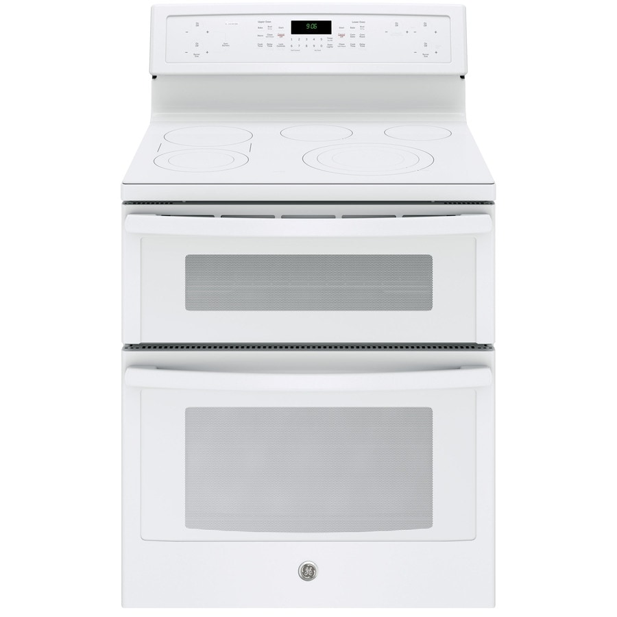 GE Profile 30-in Smooth Surface 5-Element 4.4-cu ft/2.2-cu ft Self-Cleaning Double Oven Convection Electric Range (White)