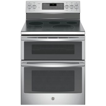 Ge Profile Smooth Surface Element 4 4 Cu Ft 2 2 Cu Ft Self Cleaning Double Oven Convection Electric Range Stainless Steel Common 30 In Actual 29 875 In In The Double Oven Electric Ranges Department At Lowes Com