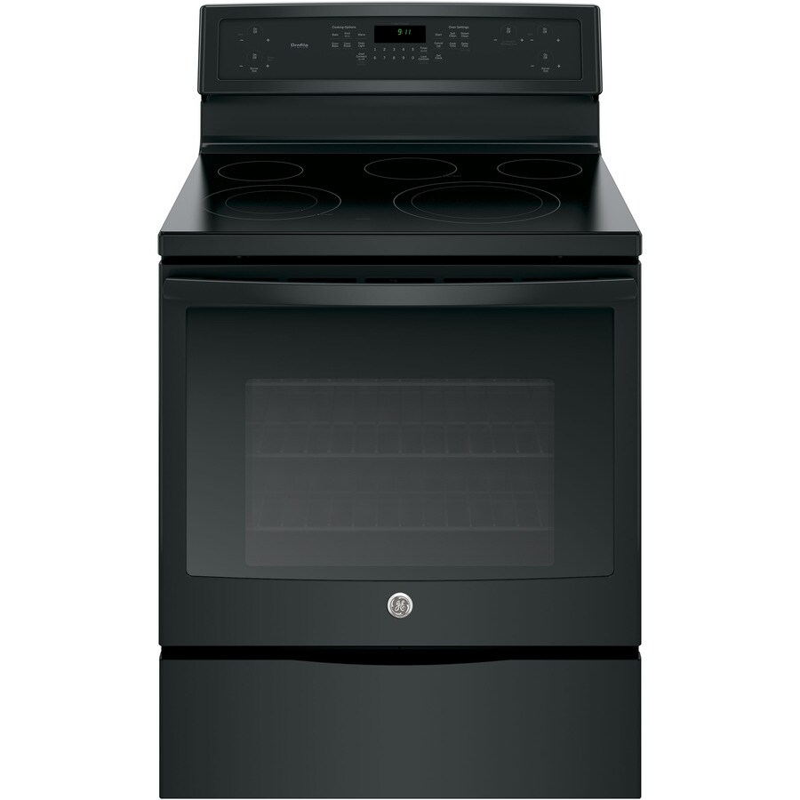 GE Profile Smooth Surface Freestanding 5-Element 5.3-cu ft Self-Cleaning Convection Electric Range (Black) (Common: 30-in; Actual: 29.875-in)