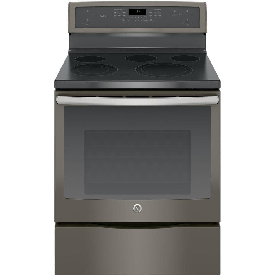 GE Profile Smooth Surface Freestanding 5-Element 5.3-cu ft Self-Cleaning Convection Electric Range (Fingerprint-Resistant Slate) (Common: 30-in; Actual: 29.875-in)