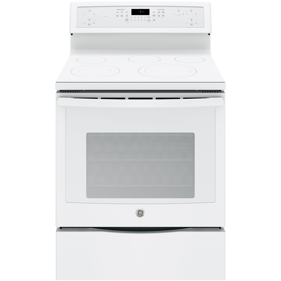 GE Profile Smooth Surface Freestanding 5-Element 5.3-cu ft Self-Cleaning Convection Electric Range (White) (Common: 30-in; Actual: 29.875-in)