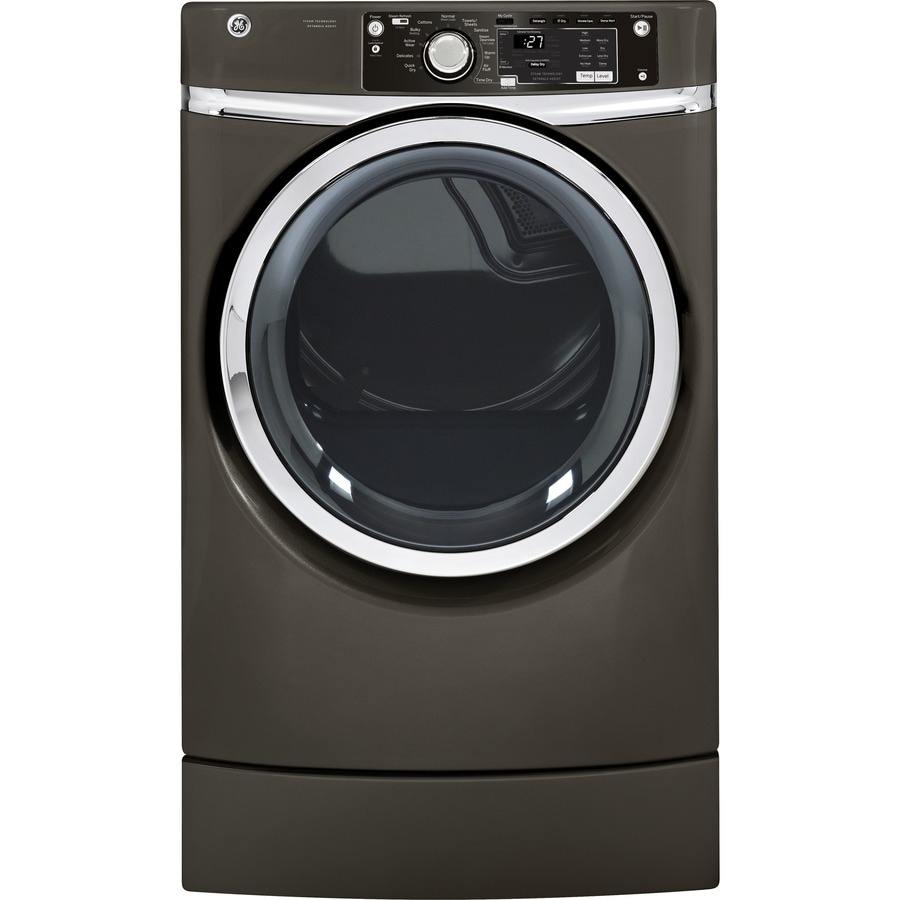 GE 8-cu ft Electric Dryer with Steam Cycle (Metallic Carbon)