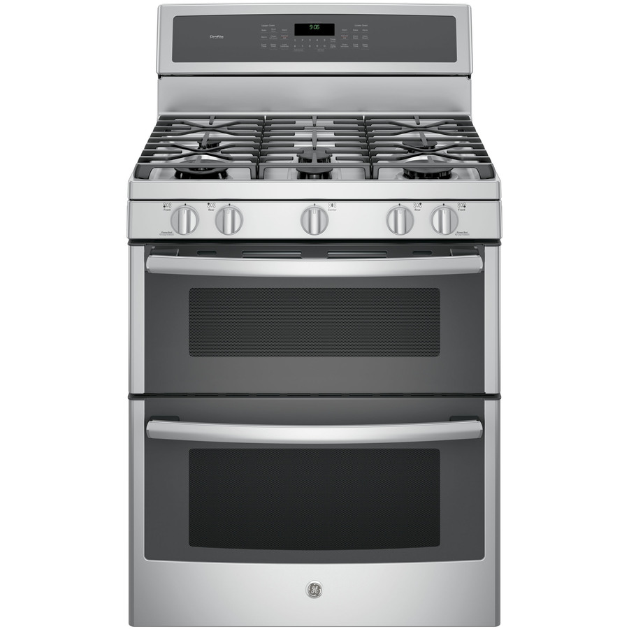 GE Profile 30-in 5-Burner 4.3-cu ft/2.5-cu ft Double Oven Convection Gas Range (Stainless Steel)