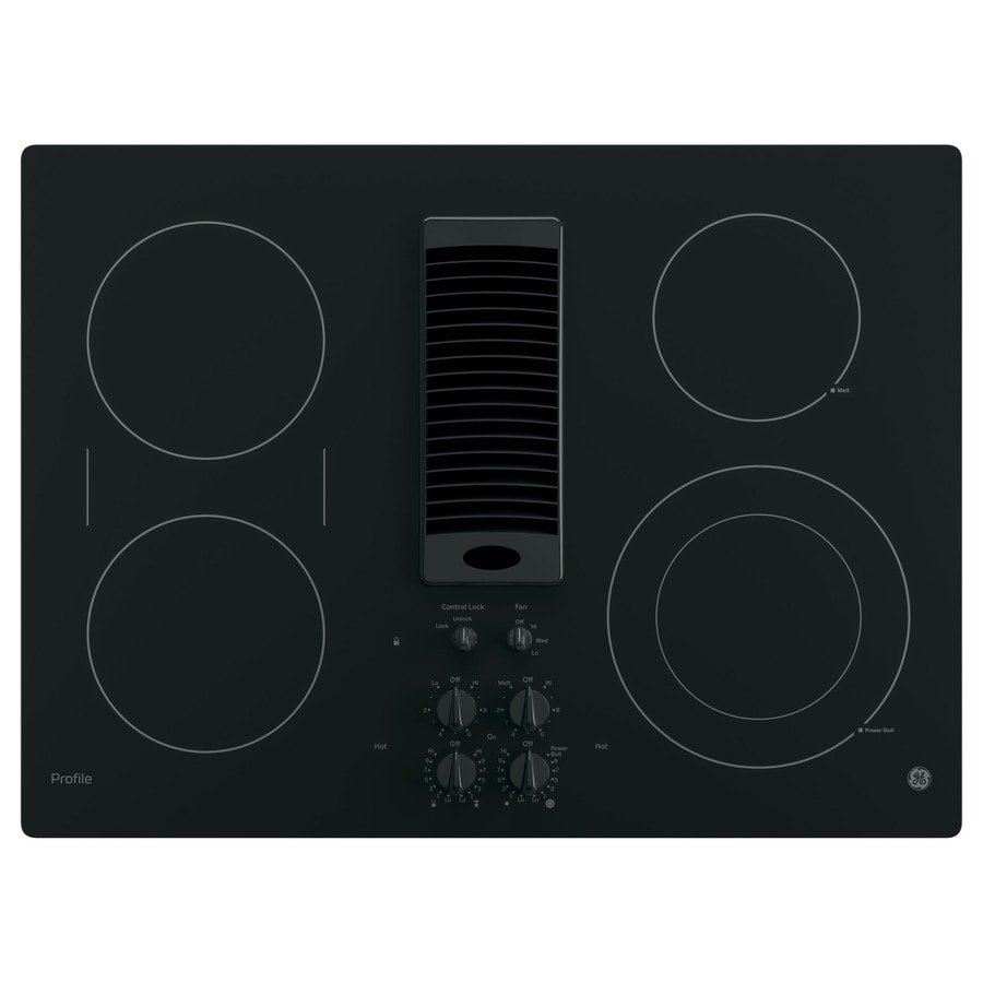 electric cooktop. Modren Electric GE Profile Smooth Surface Electric Cooktop With Downdraft Exhaust Black  Common 30 For Loweu0027s