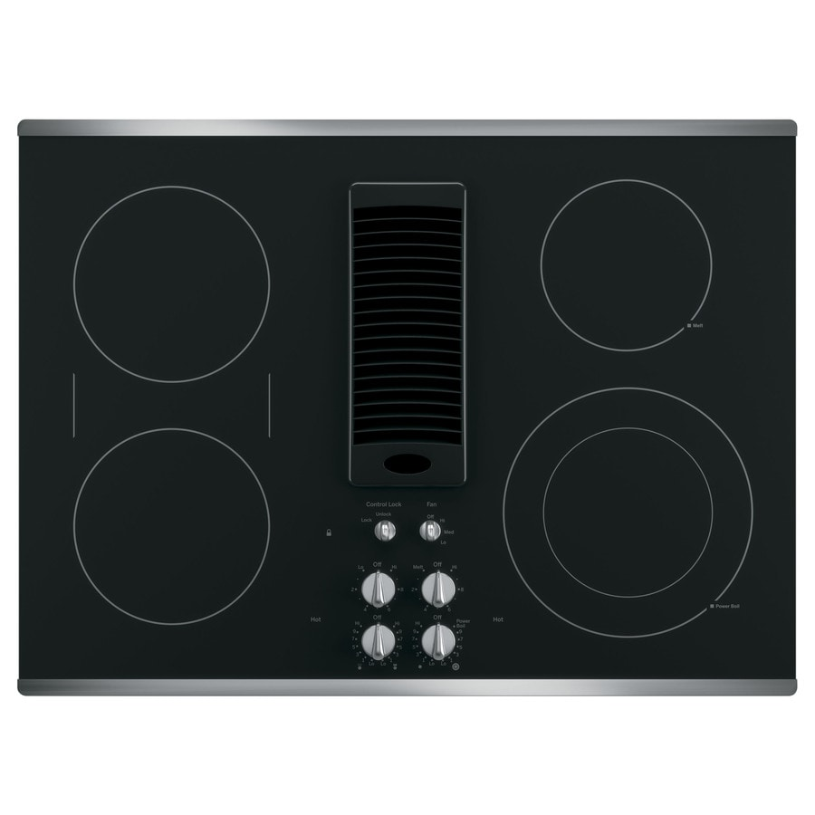 GE Profile Smooth Surface Electric Cooktop with Downdraft Exhaust (Stainless Steel) (Common: 30-in; Actual 29.8125-in)