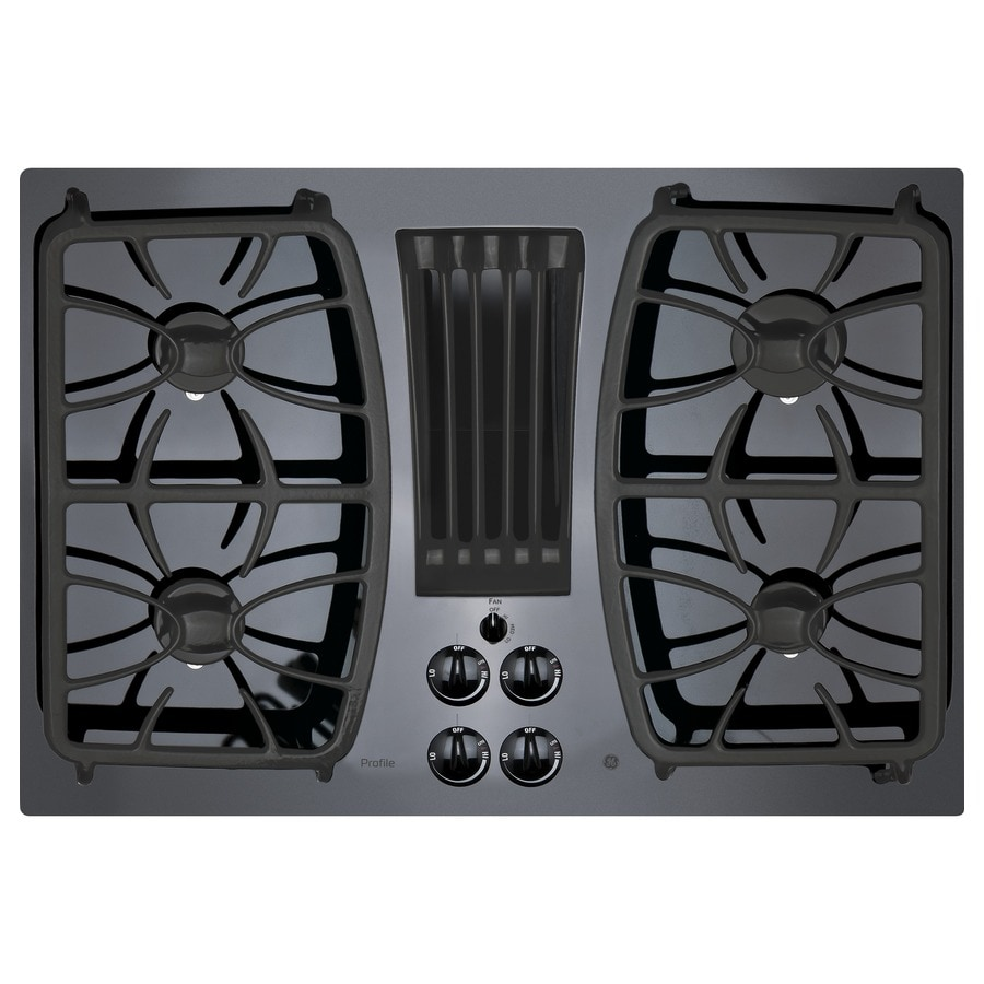 GE Profile 4-Burner Gas Cooktop with Downdraft Exhaust (Black) (Common: 30-in; Actual: 29.75-in)