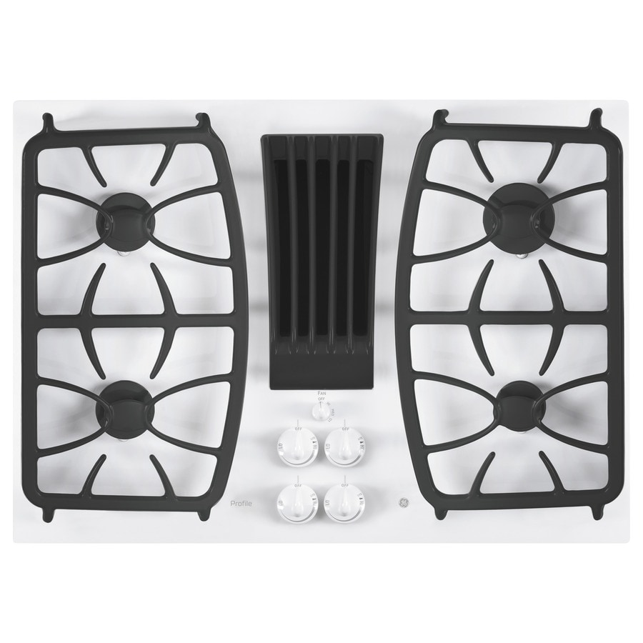 GE Profile Gas Cooktop with Downdraft Exhaust (White) (Common: 30-in; Actual: 29.75-in)