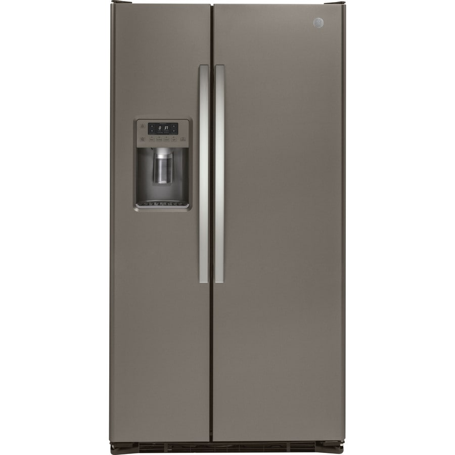 GE 21.9-cu ft Counter-Depth Side-by-Side Refrigerator with Ice Maker (Fingerprint-Resistant Slate)