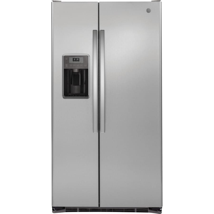 GE 21.9-cu ft Counter-Depth Side-by-Side Refrigerator with Single Ice Maker (Stainless Steel)