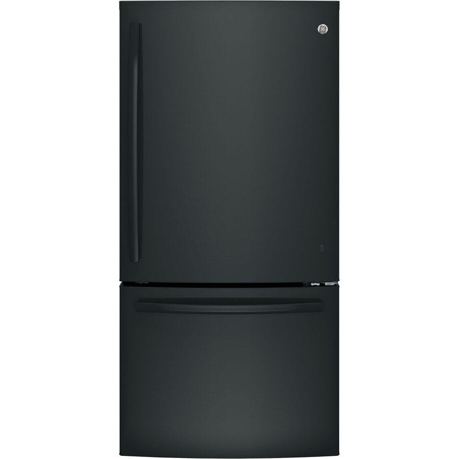 GE 24.9-cu ft Bottom-Freezer Refrigerator with Single Ice Maker (Black) ENERGY STAR