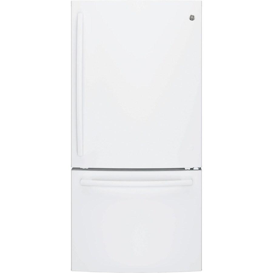 GE 24.9-cu ft Bottom-Freezer Refrigerator with Single Ice Maker (White) ENERGY STAR