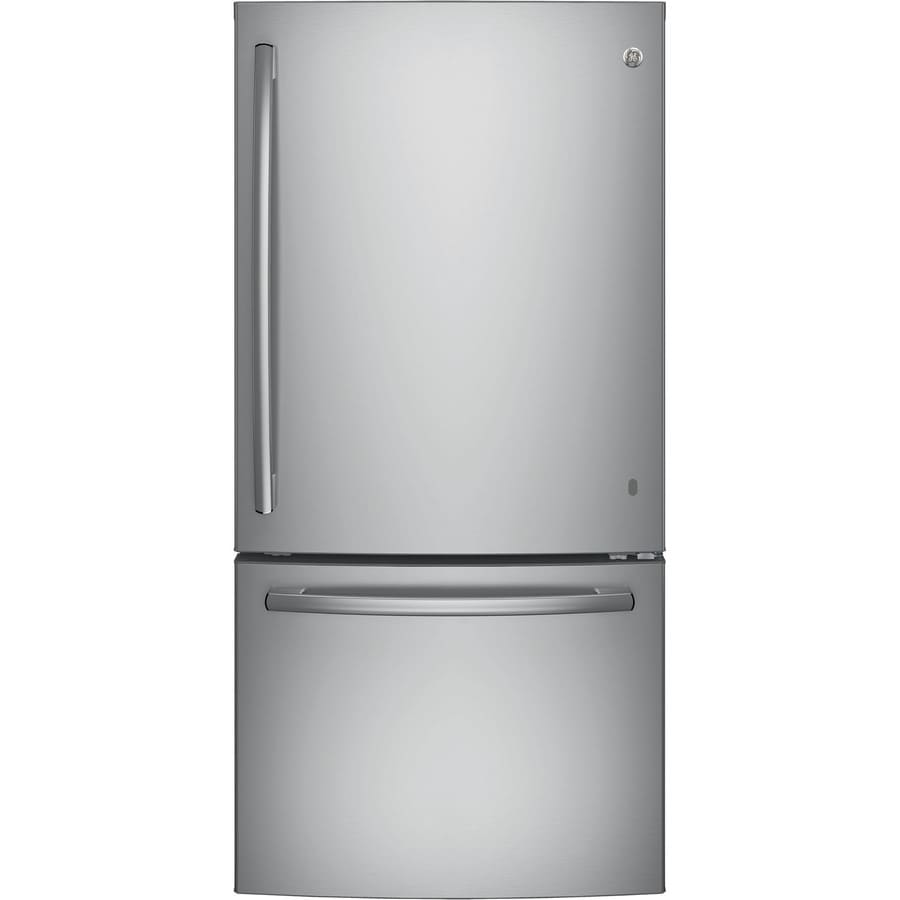GE 24.9-cu ft Bottom-Freezer Refrigerator with Single Ice Maker (Stainless Steel) ENERGY STAR