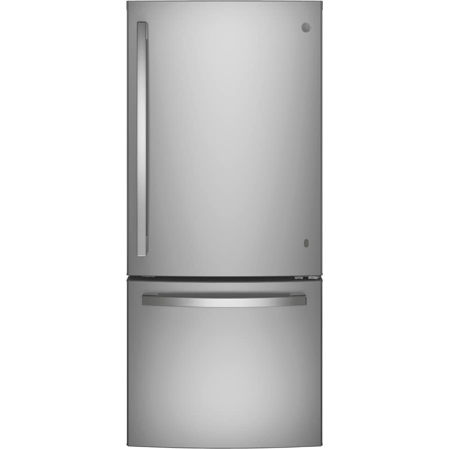 GE 20.9-cu ft Bottom-Freezer Refrigerator with Ice Maker (Stainless Steel) ENERGY STAR