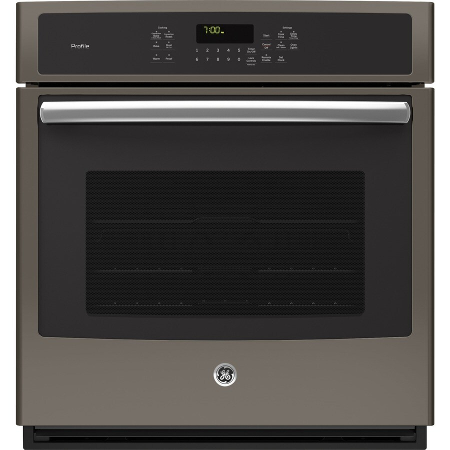 GE Profile Self-Cleaning Convection Single Electric Wall Oven (Fingerprint-Resistant Slate) (Common: 27-in; Actual 26.75-in)