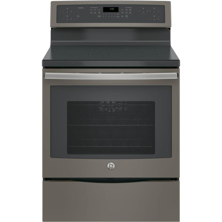 GE Profile Series Profile Smooth Surface Freestanding 5-Element 5.3-cu ft Self-Cleaning Convection Electric Range with Induction Heating (Slate) (Common: 30-in; Actual: 29.875-in)
