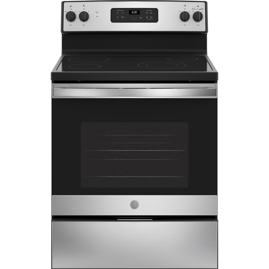 GE Smooth Surface Freestanding 5.3-cu ft Electric Range (Stainless Steel) (Common: 30-in; Actual: 29.875-in)