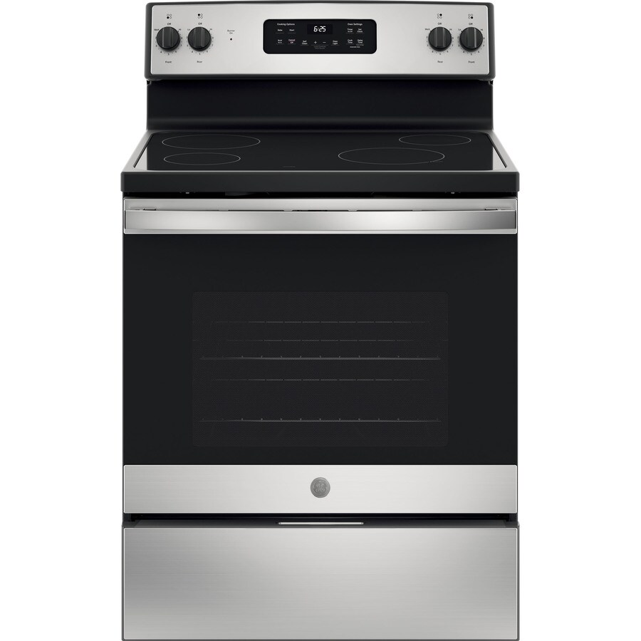 GE Smooth Surface Freestanding 5.3-cu ft Self-Cleaning Electric Range (Stainless Steel) (Common: 30-in; Actual: 29.875-in)
