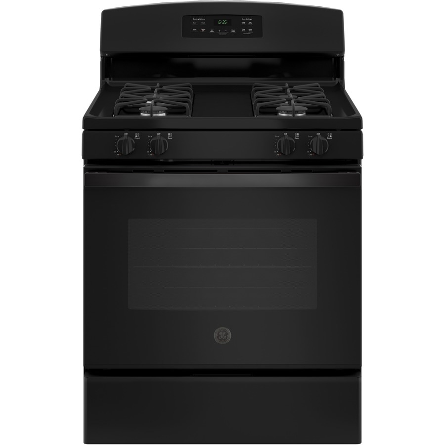 GE Freestanding 5-cu ft Self-Cleaning Gas Range (Black) (Common: 30-in; Actual: 30-in)