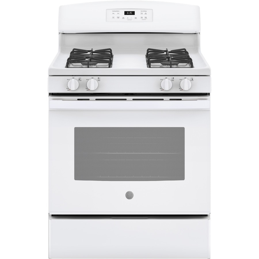 GE Freestanding 5-cu ft Self-Cleaning Gas Range (White) (Common: 30-in; Actual: 30-in)