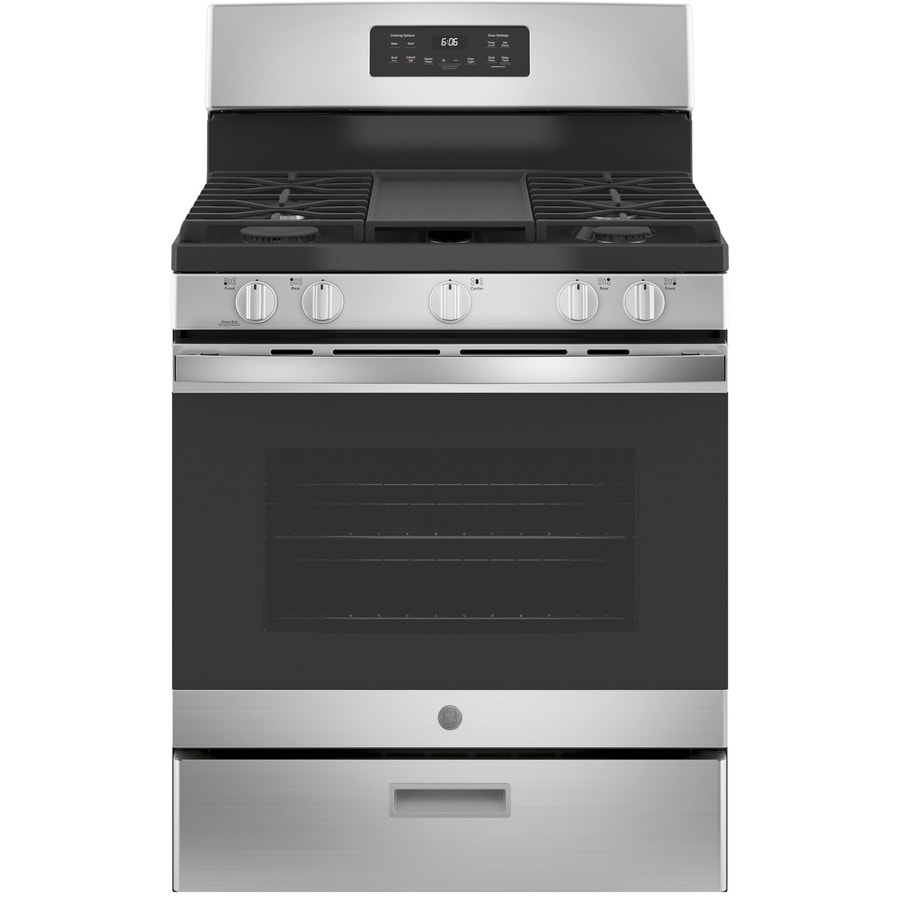 GE 5-Burner Freestanding 5-cu ft Gas Range (Stainless steel) (Common: 30-in; Actual: 30-in)