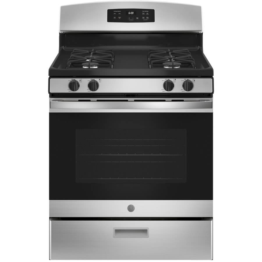 GE Freestanding 4.8-cu ft Gas Range (Stainless Steel) (Common: 30-in; Actual: 30-in)
