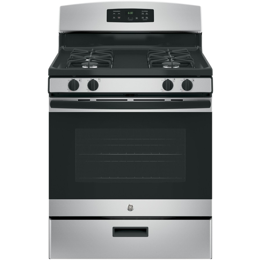 Black And Silver Kitchen Appliances: GE 4.8-cu Ft Freestanding Gas Range (Fingerprint-Resistant
