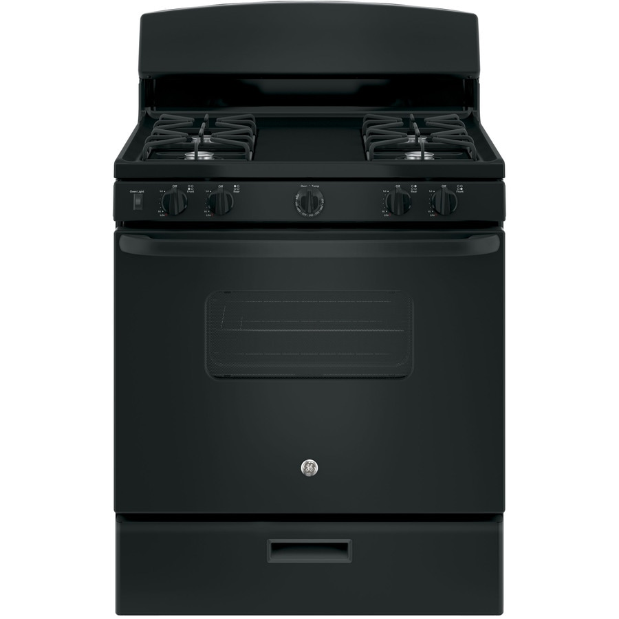 GE Freestanding 4.8-cu ft Gas Range (Black) (Common: 30-in; Actual: 30-in)