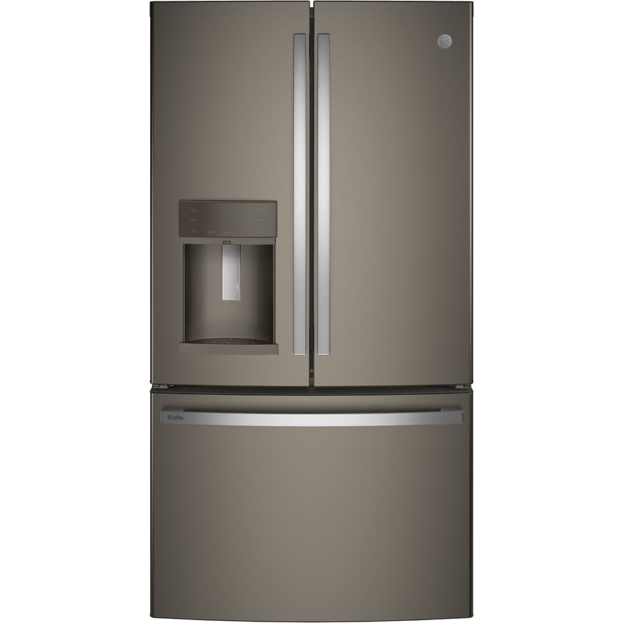 GE Profile Series Profile 22.2-cu ft Counter-Depth French Door Refrigerator with Ice Maker (Fingerprint-Resistant Slate) ENERGY STAR